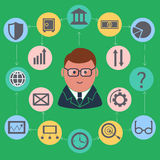 Businessman surrounded finance activities icons. Finance concept with businessman in suit and glasses surrounded business and finance activities round icons on Royalty Free Stock Image
