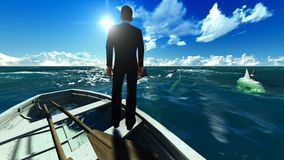 Businessman surrounded by sharks Royalty Free Stock Image