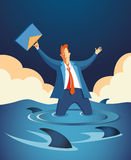 Businessman Surrounded By Sharks Illustration. Stylized vector llustration of worried businessman holding his briefcase in the air, knee-deep in rising water and Stock Photos