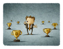 Businessman surrounded by trophies think about which to choose. Illustration of Businessman surrounded by trophies think about which to choose Royalty Free Stock Photos