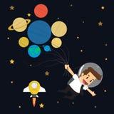 Businessman survey cosmos 7 planet 7 day Stock Photos