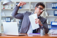 Businessman sweating excessively smelling bad in office at workp. Lace stock images