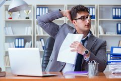Businessman sweating excessively smelling bad in office at workp. Lace Stock Image