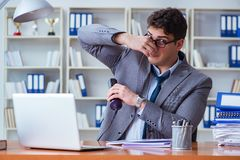 Businessman sweating excessively smelling bad in office at workp. Lace Royalty Free Stock Images