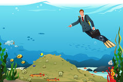 Businessman Swimming Searching for Money Royalty Free Stock Images