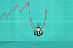 Businessman swinging on Profit Arrow Stock Photography