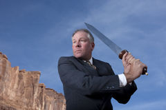 Businessman With Sword Stock Photos