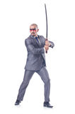 Businessman with sword Stock Images