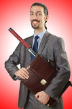 Businessman with sword Royalty Free Stock Photo