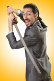 Businessman with sword Royalty Free Stock Image