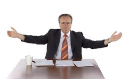 Businessman at the table Royalty Free Stock Photos