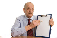 Businessman with a tablet Stock Photos
