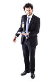 Businessman tablet and champagne royalty free stock images