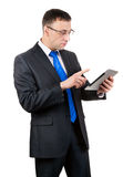 Businessman with tablet computer royalty free stock photography