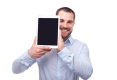Businessman with tablet computer Stock Image