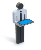 Businessman with the tablet. Businessman 3D icon with the tablet on white background - 3D illustration Royalty Free Stock Photos