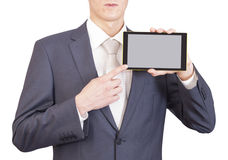 Businessman and tablet Royalty Free Stock Image