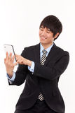 Businessman with tablet PC Royalty Free Stock Photos