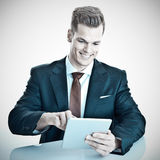 Businessman with Tablet-PC Stock Photo