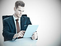 Businessman with Tablet-PC Stock Images