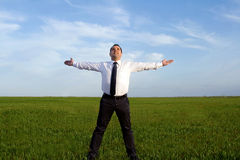 Businessman take energy from nature Royalty Free Stock Image
