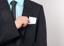 Businessman takes out business card Royalty Free Stock Photography