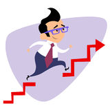 Businessman takes a step over the obstacle graph of sales busine Royalty Free Stock Image