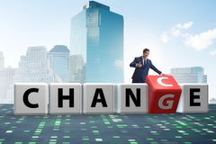 The businessman taking chance for change. Businessman taking chance for change stock photography