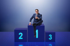 The businessman taking first place in competition Stock Images