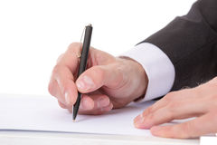 Businessman taking notes Royalty Free Stock Image