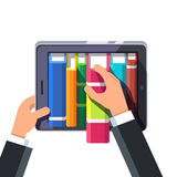 Businessman taking out book from a virtual shelve. Businessman hands taking out book from a virtual library shelve on a tablet computer or big smartphone. Flat Royalty Free Stock Image