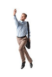 Businessman taking selfie. Young happy businessman jump and taking selfie on white background Stock Photos