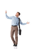Businessman  taking selfie. Young happy  businessman jump and taking selfie on white background Stock Image