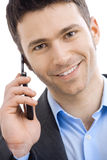 Businessman taling on mobile phone Stock Photography