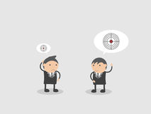 Businessman talk about Big and Small Target. Doodle vector illustration cartoon character abstract. Businessman talk about Big and Small Target. Doodle vector Royalty Free Stock Photo