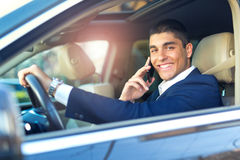 Businessman talk in car Stock Photography