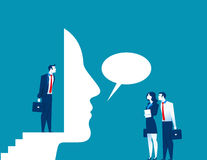 Businessman talk through the mask. Concept business illustration. Vector flat Royalty Free Stock Image