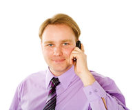Businessman talking. On cell phone isolated Stock Photos