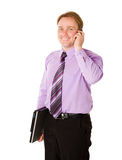 Businessman talking. On phone isolated Royalty Free Stock Images