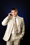 Businessman talking. On cell phone Royalty Free Stock Photo