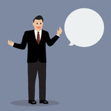 Businessman talking with body language. Vector Illustration Stock Image