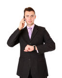 Businessman talking on a cell phone Stock Photos