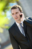 Businessman talking on the cell phone Stock Photos