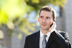 Businessman talking on the cell phone Royalty Free Stock Photos