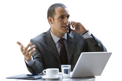 Businessman talking on cell phone, cut out Royalty Free Stock Photo