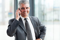 Businessman talking cell phone Royalty Free Stock Image