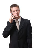 Businessman talking with cellphone Royalty Free Stock Photo