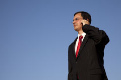 Businessman talking on the cellphone Royalty Free Stock Photos