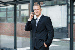 Businessman Talking On Cellphone Stock Photography