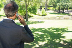 Businessman talking on cellphone. Rear view of businessman talking on cellphone in park Royalty Free Stock Photo